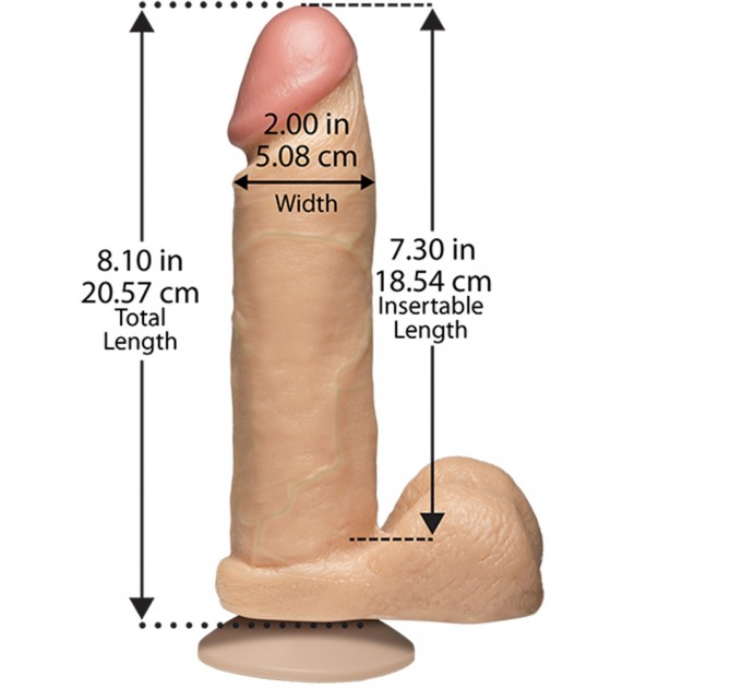 Фаллоимитатор Doc Johnson The Realistic Cock 8 inch White - PVC